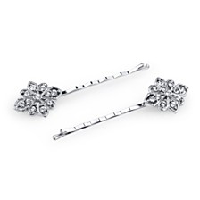 2028 Silver-Tone Crystal Bobby Pin Set