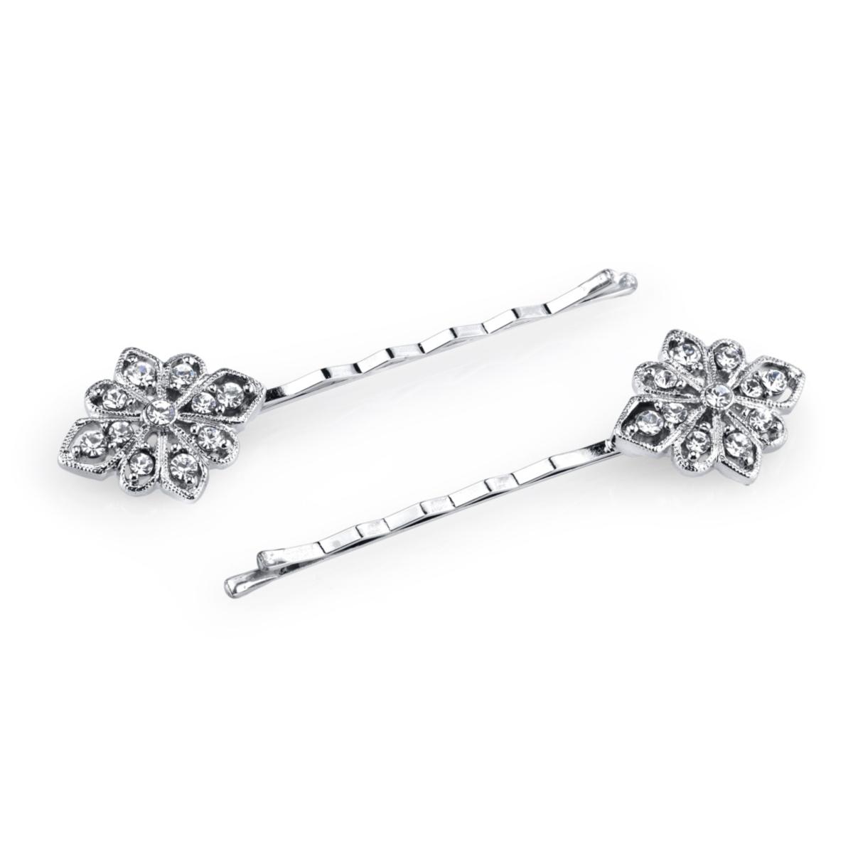 2028 Silver-Tone Crystal Bobby Pin Set