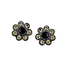 2028 Black-Tone Black Diamond Color Cluster Button Earrings