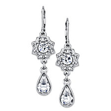 2028 Silver-Tone Crystal Floral Teardrop Earrings