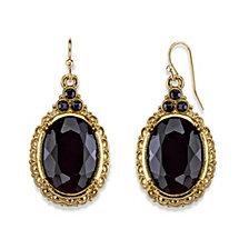 2028 Gold-Tone Black Oval Drop Earrings