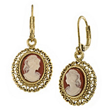 2028 Gold Tone Simulated Dark Orange Cameo Oval Drop Earrings