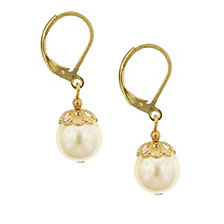 2028 Gold-Tone Simulated Pearl Drop Earrings