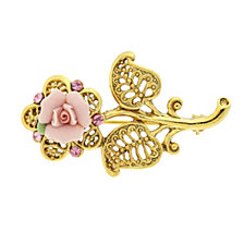2028 Gold-Tone Pink Crystal and Porcelain Rose Brooch