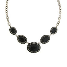 "2028 Silver-Tone Oval Black Stone Necklace 16"" Adjustable"