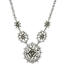 "2028 Silver-Tone Crystal Multi Flower Drop Necklace 16"" Adjustable"