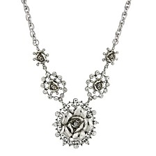 "2028 Silver-Tone Crystal Multi Flower Drop Necklace 16"" Adjustable"