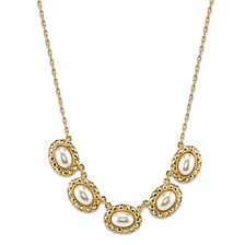 """2028 Gold-Tone Simulated Pearl Oval Collar Necklace 16""""Adjustable"""
