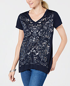 Style & Co Metallic-Print T-Shirt, Created for Macy's