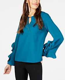 Thalia Sodi Ruffle-Sleeve Hardware-Keyhole Top, Created for Macy's