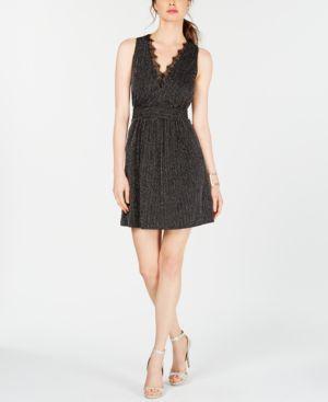 Image of 19 Cooper Lace-Trim Metallic-Stripe Dress
