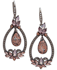 Jenny Packham Hematite-Tone Crystal Orbital Drop Earrings