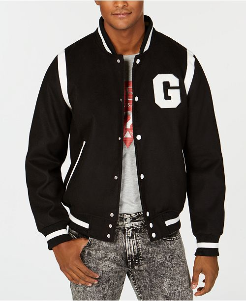 0ccd3938ba020 GUESS Men s Hooded Varsity Jacket - Coats   Jackets - Men - Macy s