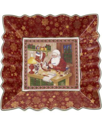 Toy's Fantasy Santa's Workshop Porcelain Square Bowl