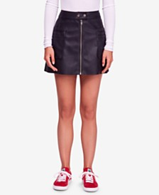 Free People Faux-Leather A-Line Mini Skirt