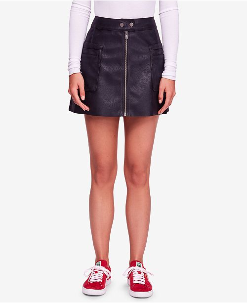 c7b937da24 Free People Faux-Leather A-Line Mini Skirt & Reviews - Skirts ...