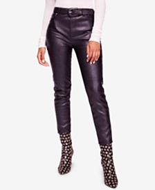 Free People Belted Faux-Leather Ankle Pants