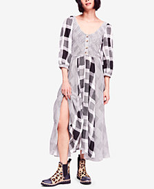 Free People Old Friends Cotton Mixed-Plaid Maxi Dress