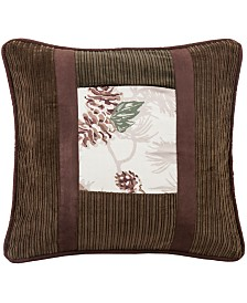 """18""""x18"""" Pinecone Pillow with Corduroy Detail"""
