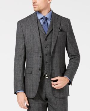 1960s Mens Suits | 70s Mens Disco Suits Tallia Mens Slim-Fit Charcoal Plaid Wool Suit Jacket $210.00 AT vintagedancer.com