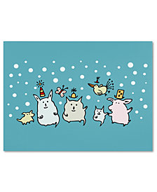 Carla Martell 'Christmas Creatures in Blue' Canvas Art Print Collection