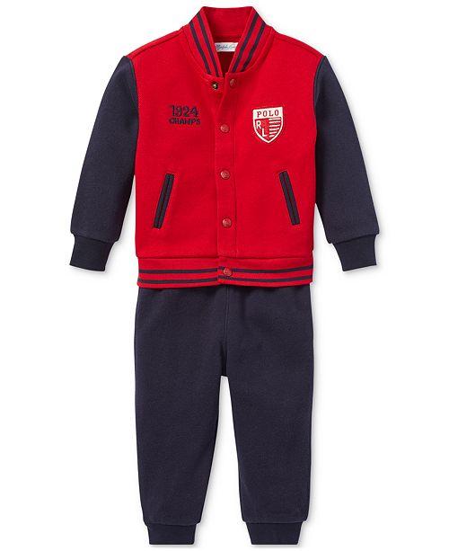dca5318fb Polo Ralph Lauren Baby Boys Baseball Jacket   Jogger Pants Set ...