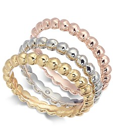 Alfani Multi-Tone 3-Pc. Set Bubble-Style Stacking Rings, Created for Macy's