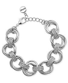 Silver-Tone Crystal Accent Multi-Hoop Link Bracelet, Created for Macy's