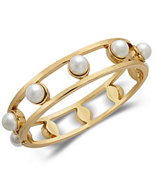 Alfani Gold-Tone Imitation Pearl Openwork Bangle Bracelet, Created for Macy's
