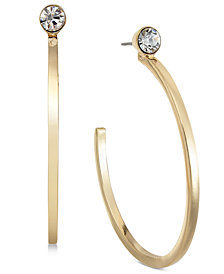 Alfani Crystal Accented Hoop Earrings, Created for Macy's