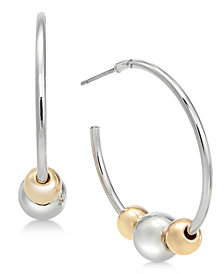 Alfani Two-Tone Beaded Open Hoop Earrings, Created for Macy's