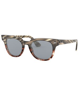 RAY BAN Meteor 50Mm Mirrored Wayfarer Sunglasses - Gold Blue Mirror in Grey Gradient Brown Stripped / Blue Mir Gold Blue