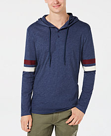 American Rag Men's Lightweight Varsity Henley Hooded Shirt, Created for Macy's
