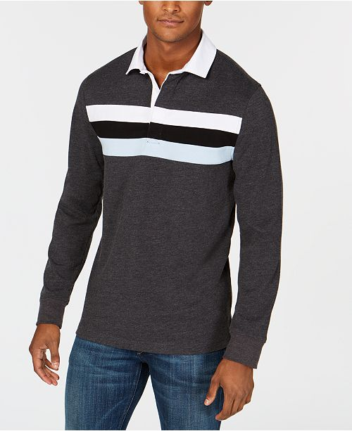 d31b3b4d ... Club Room Men's Chest-Stripe Rugby Shirt, Created for Macy's ...