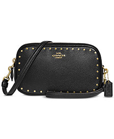 COACH Border Rivets Crossbody in Pebble Leather