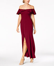 Nightway Ruffled Off-The-Shoulder Gown