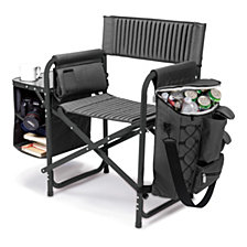 Picnic Time Dark Gray Fusion Backpack Chair with Cooler