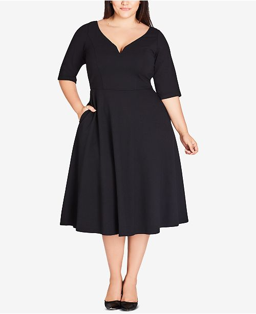 City Chic Trendy Plus Size Sweetheart-Neck Fit & Flare Dress ...