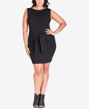 CITY CHIC Trendy Plus Size Tie-Waist Dress in Black