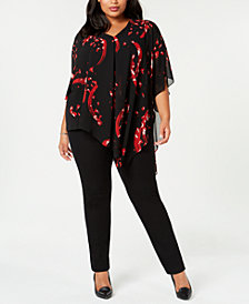 Alfani Plus Size Printed Asymmetrical Top, Created for Macy's