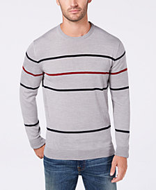 Club Room Men's Merino Pop Striped Sweater, Created for Macy's