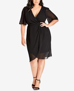 City Chic Trendy Plus Size Twisted Faux-Wrap Dress 6813886