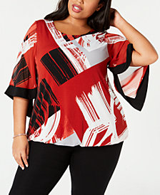 Alfani Plus Size Printed Square-Sleeve Top, Created for Macy's