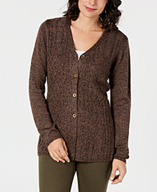 Karen Scott Long-Sleeve V-Neck Cardigan, Created for Macy's