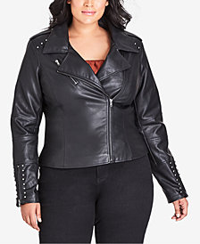 City Chic Trendy Plus Size Studded Faux-Leather Moto Jacket