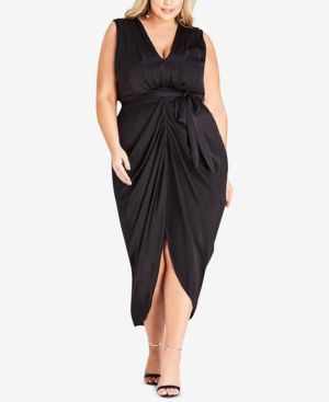 Trendy Plus Size Soul Sister Draped Dress in Black
