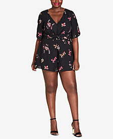City Chic Trendy Plus Size Akari-Print Cutout Romper