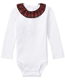 Polo Ralph Lauren Baby Girls Ruffled Plaid-Collar Cotton Bodysuit