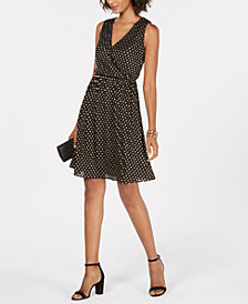 Nine West Metallic-Dot Surplice Fit & Flare Dress