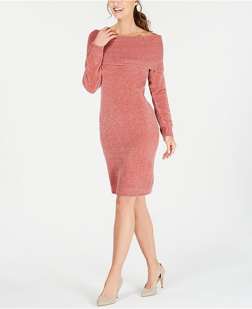 b4214d9cf86d Nine West Off-The-Shoulder Sweater Dress   Reviews - Dresses - Women ...